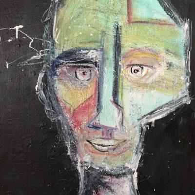 Autoportrait 5 Encre & Pastel - Samuel Jacques-charbonneau