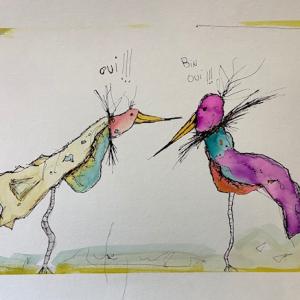 Encre et Pastel Oiseaux, 2019, Oui Bin Oui!!
