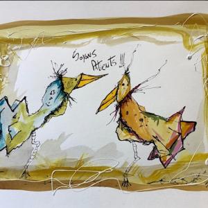 Encre et Pastel Oiseaux, 2019, Soyons patients