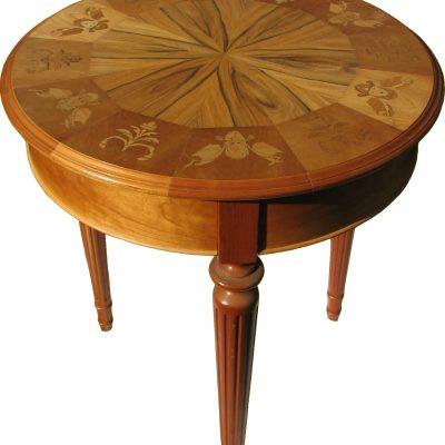 Table en cerisier marqueterie style Louis XVI - Bruno Huissoud